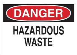 "Brady 41318 Aluminum Chemical & Hazardous Materials Sign, 10"" X 14"", Legend ""Hazardous Waste"""
