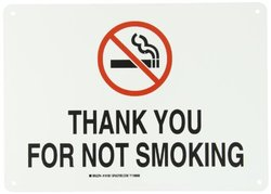 """Brady 141931 14"""" Width x 10"""" Height B-555 Aluminum, Red and Black on White Sign, Legend """"Thank You For Not Smoking"""" (with Picto)"""