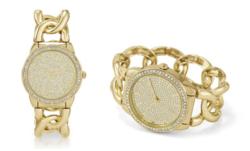 Sociology Rhinestone Women's Bracelet Watch Band - Gold-tone