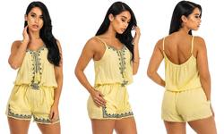 Women's Embroidered Romper with Tassels - Yellow - Size: Large