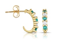 10k Gold Earrings: Emerald & White Topaz