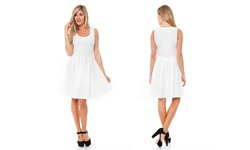White Mark Women's Crystal Skater Dress - White - Size: Large