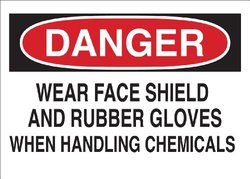 "Brady 70582 Premium Fiberglass Chemical & Hazardous Materials Sign, 10"" X 14"", Legend ""Wear Face Shield And Rubber Gloves When Handling Chemicals"""