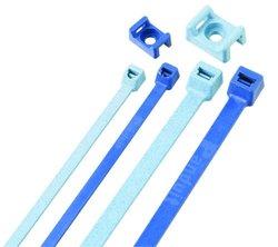"Panduit TM2S8-C86 Cable Tie Mount, Nylon 6.6, #8 (M4) Screw Mounting Method, 0.325"" Counter Bore Diameter, 0.275"" Height, 0.422"" Width, 0.63"" Length, Light Blue (Pack of 100)"