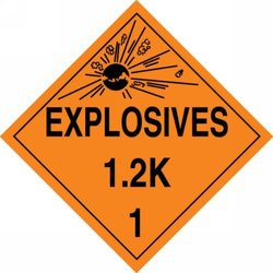 """Accuform Signs MPL118VS25 Adhesive Vinyl Hazard Class 1/Division 2K DOT Placard, Legend """"EXPLOSIVES 1.2K 1"""" with Graphic, 10-3/4"""" Width x 10-3/4"""" Length, Black on Orange (Pack of 25)"""