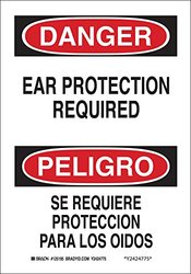 "Brady 125196 Bilingual Sign, Legend ""Ear Protection Required/Se Requiere Proteccion Para Los Oidos"", 14"" Height, 10"" Width, Black and Red on White"