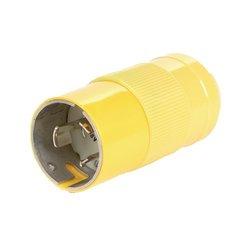 Woodhead CS8165N Safeway Plug, Industrial Duty, Locking Blade, 3 Phase, 3 Poles, 4 Wires, California Style Configuration, Nylon, Yellow, 50A Current, 480V Voltage