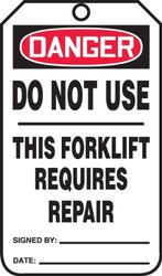 "Accuform Signs TRS327PTP Forklift Status Tag, Legend ""DANGER DO NOT USE - THIS FORKLIFT REQUIRES REPAIR"", 5.75"" Length x 3.25"" Width x 0.015"" Thickness, RP-Plastic, Red/Black on White (Pack of 25)"