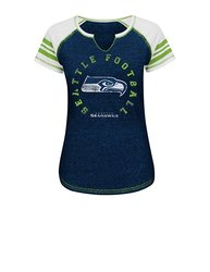 Women's Seattle Seahawks NFL Short Sleeve Raglan Split Neck Tee - Navy - L