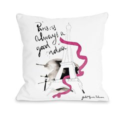 "18""x 18"" Judit Garcia Talvera Paris Throw Pillow Cover - White/Multi"