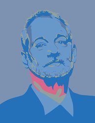 "19.75x24"" Bill Murray 5 Warhol UStrip Peel/Stick Wall Decal Sticker - Blue"