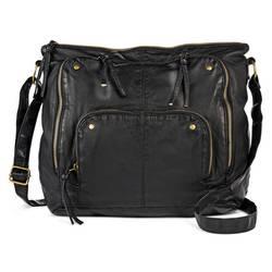 Mossimo Women's Faux Leather Hobo Handbag - Black