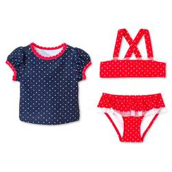 Toddler Girls 3Pc Polka Dots Swim Rash Guard Set - Nightfall Blue - 3T