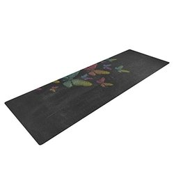 "72""x24"" Snap Studio Butterflies Exercise Yoga Mat - Pastel Chalk"
