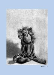"Oopsy Daisy 10x14"" Charcoal Monkey Blue Border Stretched Canvas Wall Art"