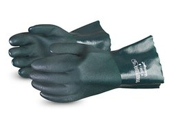 """Superior Glove 12"""" L Double Dip PVC Glove - Pack of 12 - Green - Size: 8"""