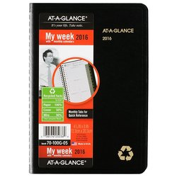 """At-A-Glance 4-7/8"""" x 8"""" Recycled Weekly/Monthly Appointment Book - Black"""