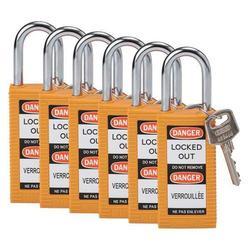 "Brady 1/4"" Lockout Padlock w/ Keyed Different - Pk of 6 - Orange (123400)"