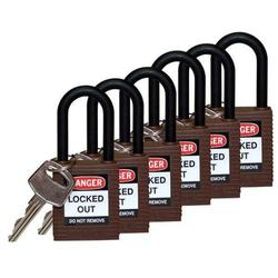 "Brady 1/4"" Keyed Alike Lockout Padlock - Pk of 6 - Brown (123348)"