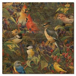 WGI-Gallery Berry Bush Songbirds Wooden Wall Art
