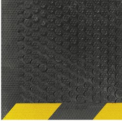 Andersen 10'x3' Yellow Border Nitrile Rubber Entrance Floor Mat - Black