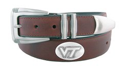 NCAA Virginia Tech Hokies Men's Leather Concho Belt - Brown - Size: 42