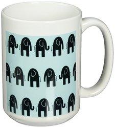 3dRose Fun Elephant Walk Ceramic Mug - 15-Ounce