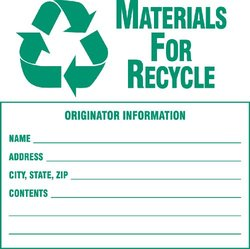 """Brady 121062,  B7569 6X6 Grn/Wht Recycle Label 100/Pkg, 6"""" Height x 6"""" Width, Green on White, Legend """"Materials For Recycle...Etc""""  (100 per Package)"""