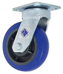 "RWM Casters Freedom 48 Series Plate Caster, Swivel, Rubber Wheel, Ball Bearing, 600 lbs Capacity, 6"" Wheel Dia, 2"" Wheel Width, 7-1/2"" Mount Height, 4-1/2"" Plate Length, 4"" Plate Width"