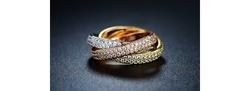Sevil Women's Three Tone Swarovski Crystal Rolling Ring - Size: 8