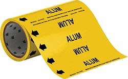 "Brady 41539 Roll Form Pipe Markers, B-946, 8"" X 30', Black On Yellow Pressure Sensitive Vinyl, Legend ""Alum"""