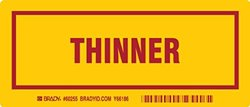 """Brady 60255,  Container Label, 3"""" Height x 7"""" Width, Red on Yellow, Legend """"Thinner""""  (25 per Package)"""