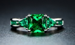 4.00 CTW Princess Cut Emerald Ring in 18K White Gold - Size: 6