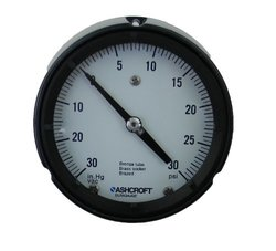 "Ashcroft Duragauge Type 1279 Black Phenolic Case Pressure Gauge, C510 Grade A Phosphor Bronze Tube, Brass Tip, Silver Brazed, Brass Socket, Solid Front Case, 4.5"" Dial Size, 1/4"" NPT Back Connection, 30"" Hg/0/30 psi Compound Range"