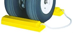 "Tigerchocks AC3512-RP-P Urethane Lightweight Commercial Aviation Wheel Chock with Rubber Base, Yellow, 12"" Length, 5"" Width, 3.25"" Height (Pair)"