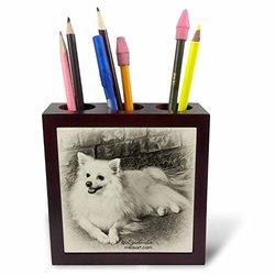 3dRose LLC American Eskimo Dog 5-Inch Tile Pen Holder