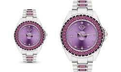 Quartz Watch with Colored Swarovski Crystals - Purple