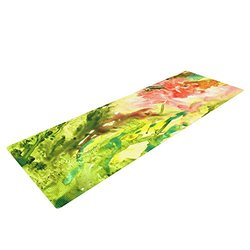 "KESS InHouse Rosie Brown Green Thumb Exercise Yoga Mat, Paint Lime, 72"" by 24"""