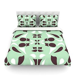 "Kess InHouse Miranda Mol ""Swirling Teal"" 104 by 88-Inch Cotton Duvet Cover, King"
