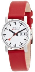 Mondaine Women's Evo Big Date Stainless Steel Leather Watch - Red