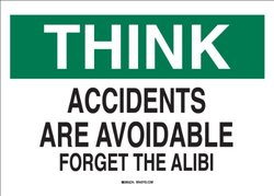 """Brady 70205 Premium Fiberglass Safety Slogans Sign, 10"""" X 14"""", Legend """"Accidents Are Avoidable: Forget The Alibi"""""""