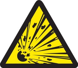 "Brady 60215,  Warning Labels, 4"" Height x 4"" Width, Black on Yellow, Picto ""Explosive Material""  (10 per Package)"