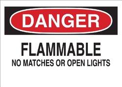 """Brady 71945 Premium Fiberglass Chemical & Hazardous Materials Sign, 10"""" X 14"""", Legend """"Flammable No Matches Or Open Lights"""""""