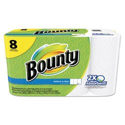 Bounty Select-a-Size Perforated Roll Towels, 11 x 5. 9, White, 63 Sheets/Roll, 8/Pack