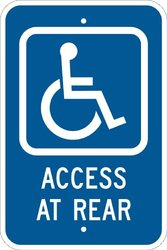 "Brady 113313 Reflective Aluminum Legend: Access At Side (W/Handicap Sign), 18"" X 12"", Legend ""Access At Side"""