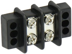 "Power Distribution and Terminal Block, Double Row Terminal Block - 9/16"" Centers, 600V, 2 Wire Size, 9/16"" Center, 2.109 Length, 1.688 Width"