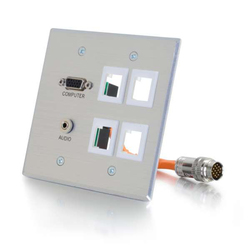 C2G RapidRun VGA/3.5mm/4 Keystones Audio Double Gang Wallplate - Aluminum