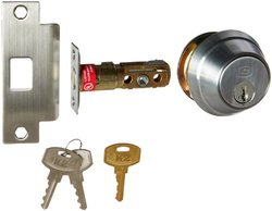 Stanley Commercial Hardware Commercial Key Control Auxiliary Deadbolt from the QDB200 Collection, 6-Pin, Kwikset SmartKey Keyway, Satin Chrome Finish