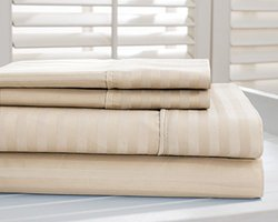 Hotel New York 4Pcs 800 TC Dobby Striped Bed Sheet Set - Taupe- Size: King