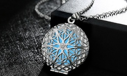 18K White Gold Plated Circle Glow In The Dark Emulate Locket Pendant Necklace